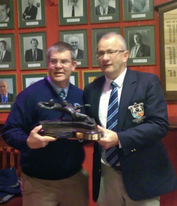 Pat Rickard, Clubman of the Year 2013-14, receives his award from immediate past President Chris Cullinan at lunch before UBL game against Tullamore RFC, 8 November 2014