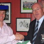 Eoin Reddan presents his Irish Jersey to Frank Larkin, Old Crescent RFC