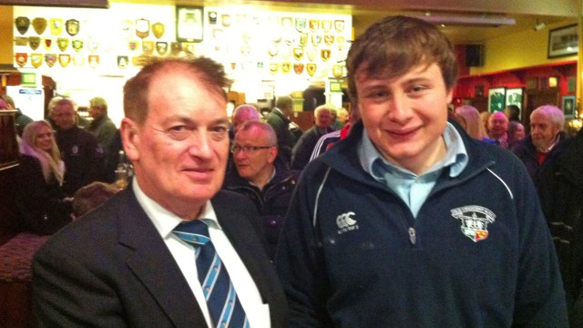 Dr Michael O Flynn with man of the match seaghan Gleeson after the seniors victory v Wanderers