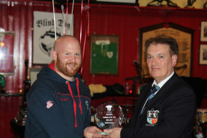 Andy Cunnane receives Third's Clubman of the Year Award from President Dr Michael O'Flynn, Old Crescent RFC President's Awards 2014-15, 15 May 2015